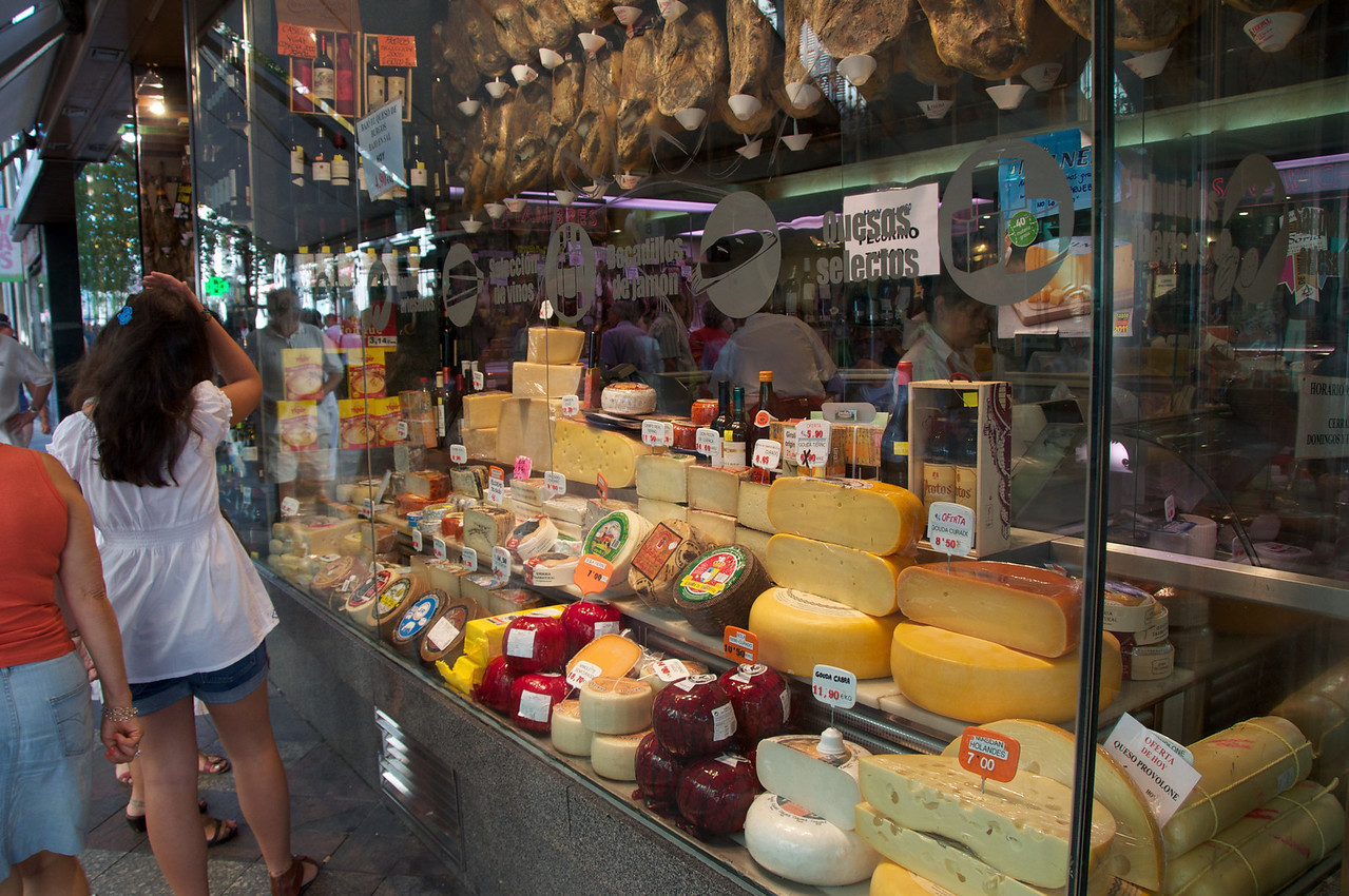 Cheese Display at Grocery Just Off Puerta Del Sol