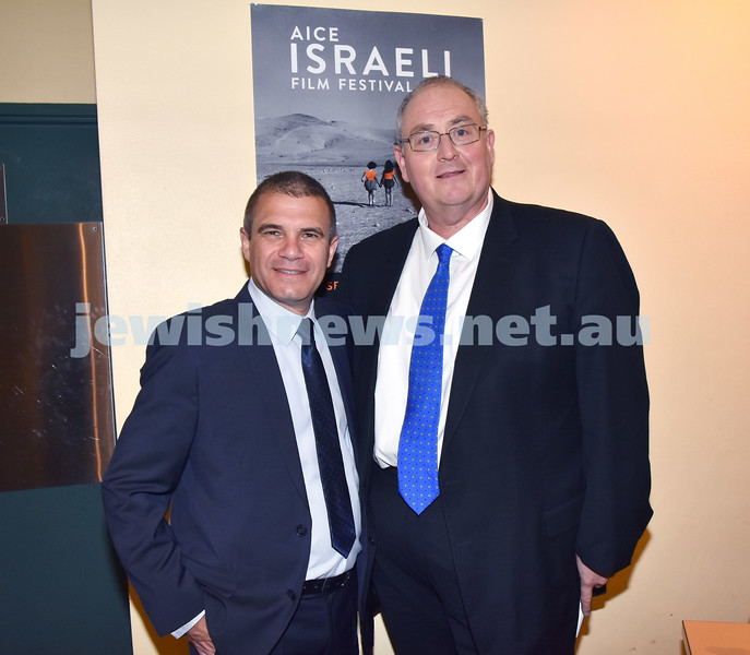 The Israeli Film Festival opening night at Randwick Ritz Cinema. IDF Brigadier General Gal Hirsch (left) with Walt Secord. Pic Noel Kessel