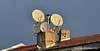 Satellite dishes on a chimney in Istanbul, Turkey, in January 2014