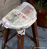 Stool covered with newspaper in Istanbul, Turkey, in January 2014