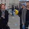 People on the Galata Bridge in Istanbul, Turkey in January 2014