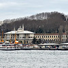 Ferries and buildings seen from the Galata Bridge in Istanbul, Turkey in January 2014