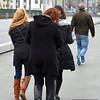 Women on the Galata Bridge in Istanbul, Turkey in January 2014