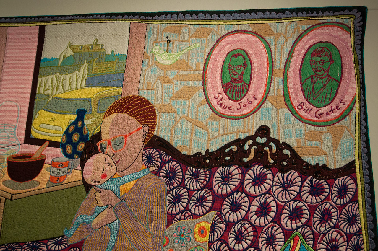 Grayson Perry Tapestry Satirizing Modern Consumption and Class Aesthetics