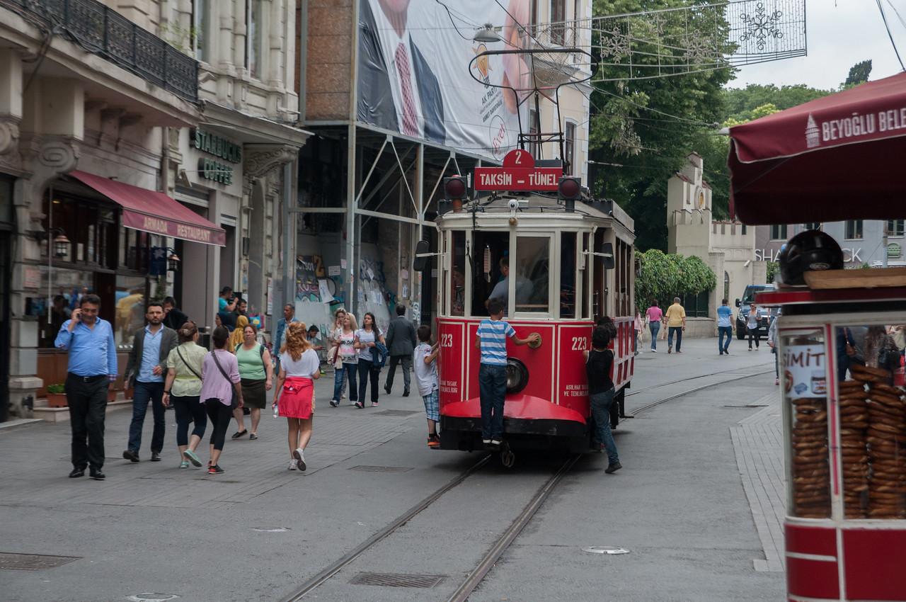 Kids love to hop on the Taksim Trolley