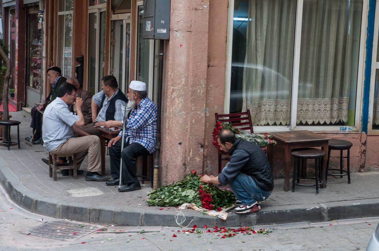 Man Prepares Roses