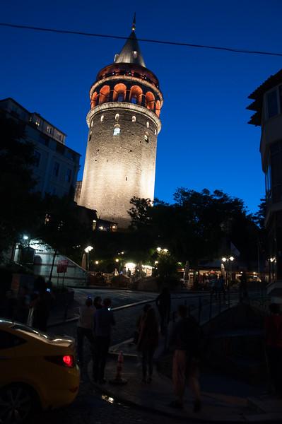 The Galata Tower at nignt