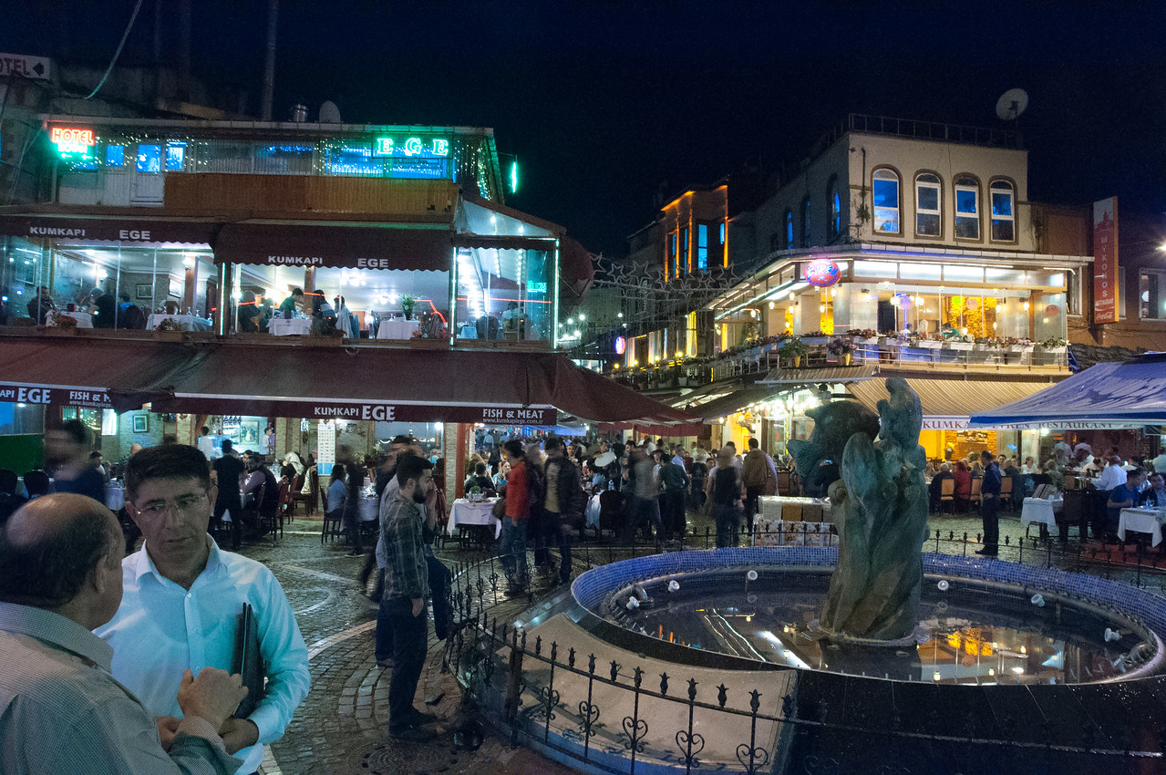 Lively Restaurant District of Kumkapi at Night