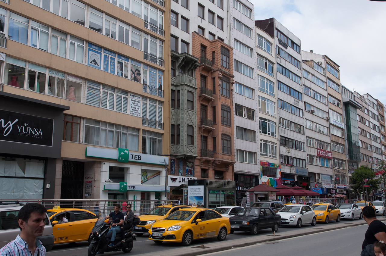 Two old buildings survive in a more upscale section of Istanbul
