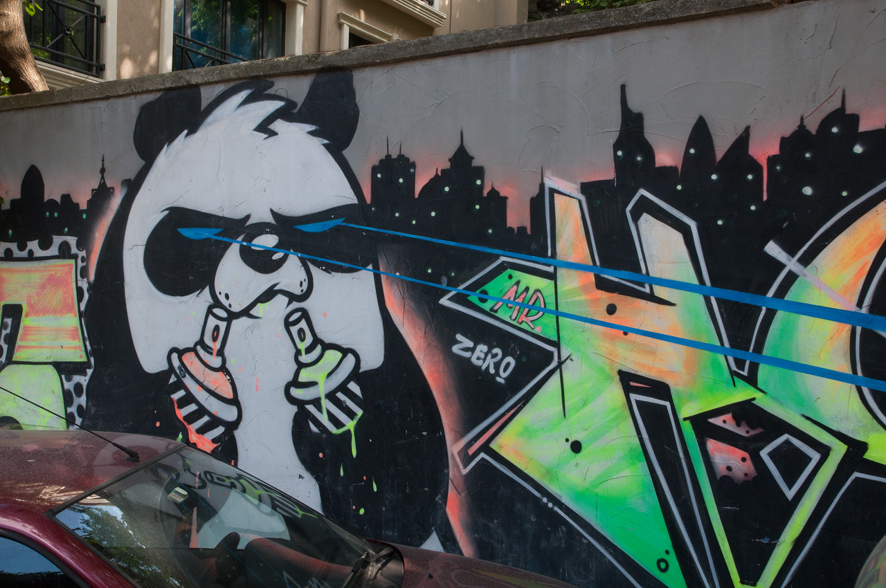 The cartoon panda was spotted all over the city
