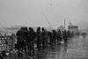 Fishing in the snow, Galata Bridge, Istanbul, Turkey