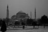 Snowy tourists, Aya Sofya, Istanbul, Turkey