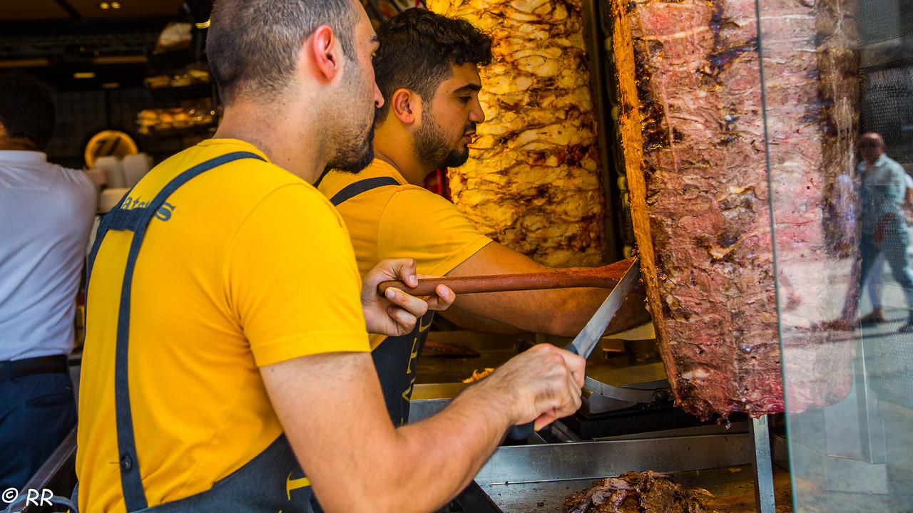 Döner – this tightly packed meat roasted on a large vertical skew