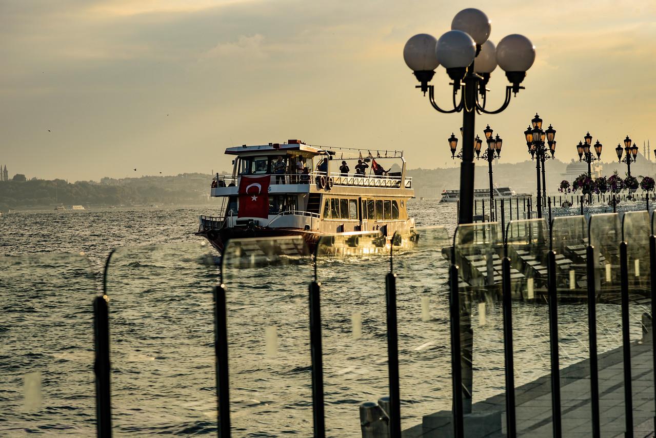 Istanbul tour boat on the Bosporus Sea