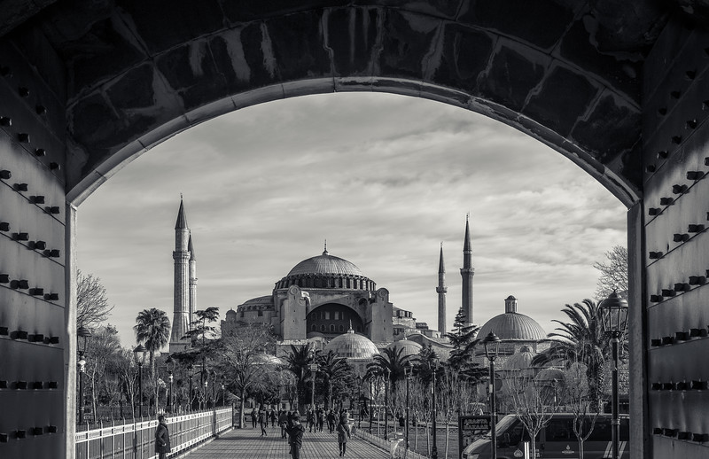 Looking at the Hagia Sophia from the Blue Mosque.