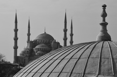 Black & White view of the Blue Mosque from a window in the Hafia Sophia