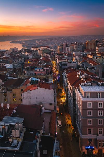 Looking down a street in Istanbul, Turkey.