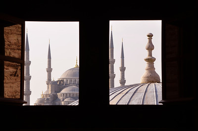 View of the Blue Mosque through a window in the Hagia Sophia, Istanbul.
