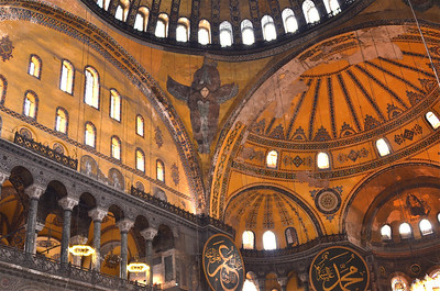 Inside walls of the Hagia Sofia featuring a painting of a Seraphim, Istanbul.