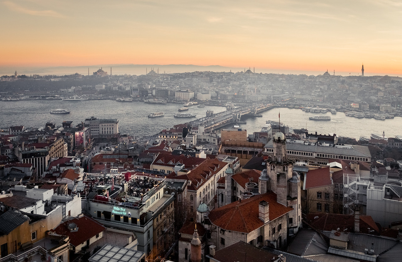 Overlooking Istanbul Turkey from the Galata Tower.