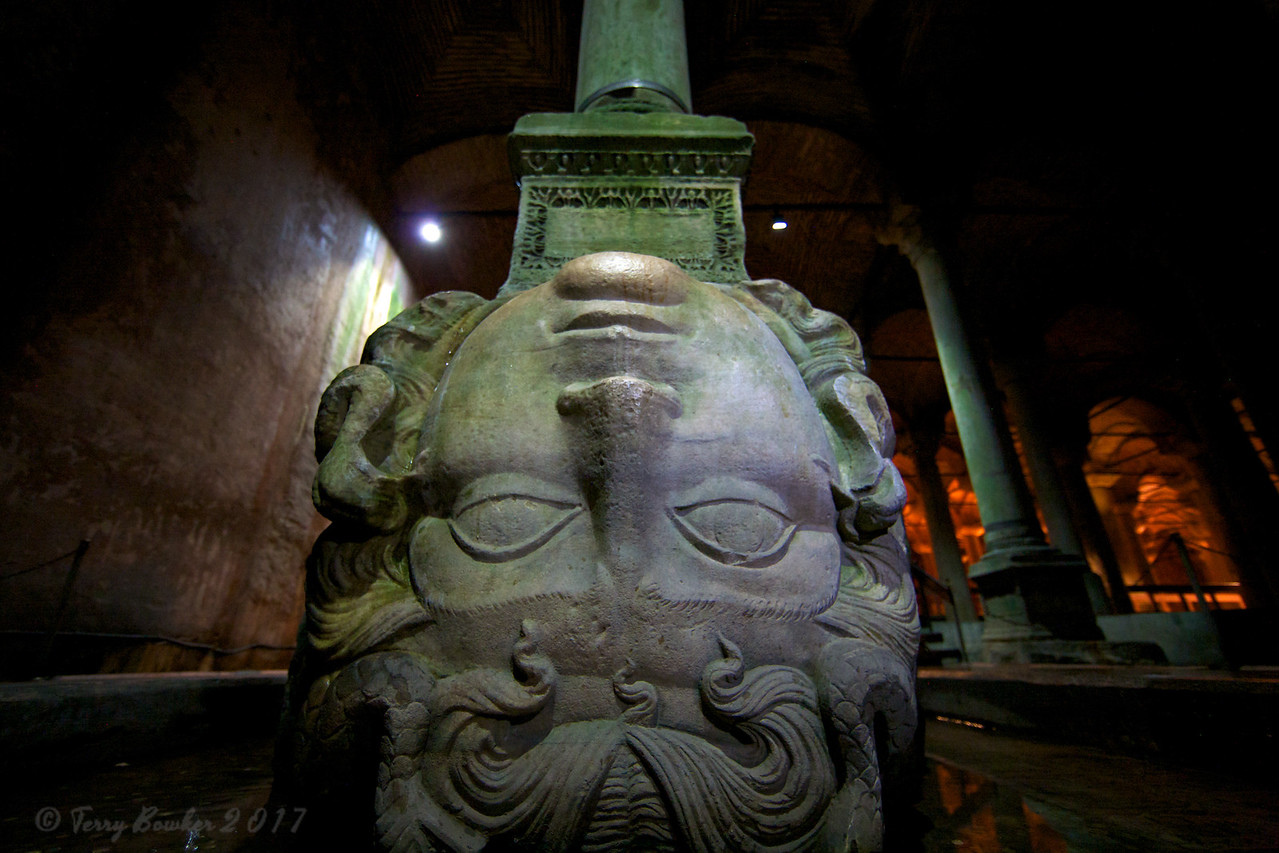 Medusa's head forms the base of a structural column of the Yerebatan Cistern(Sarnıcı). Built in 532, the Yerebatan Cistern is the largest of over 60 built during the Byzantine period and stored and supplied water from rivers outside the city.