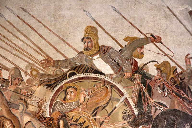 Dario III da Pérsia em Mosaico de Pompéia no Museu Arqueológico de Nápoles