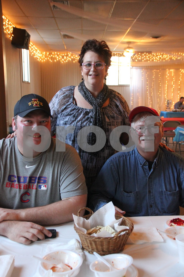 Pictured (left to right) is: Eric Berns, Jodi Berns-Lennon,  and Ron Berns, Sr.   enjoying some of the good food being served. The Fort Dodge Soup Supper Honoring Veterans took place  Sunday, November 8, 2015, at Rides Banquet Center in Fort Dodge.