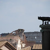 Statue of the She-wolf feeding the twins Romulus and Remus atop an ancient column in the Roman Forum, with the Colosseum in background. The twins figure prominently in the myth of Rome's founding. 2010.