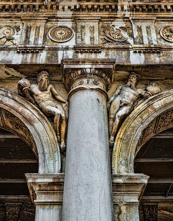 Pillars in Venice, italy