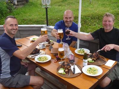 Eating SwinerOxen with beer.