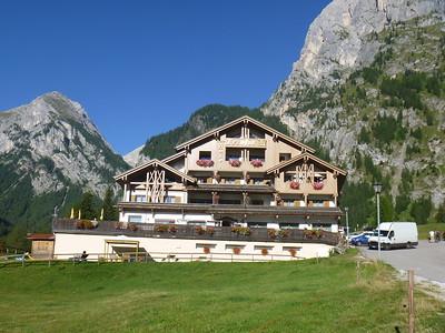 Checked in for the night at Hotel Tyrolia at Malga Ciapela, 4,539'