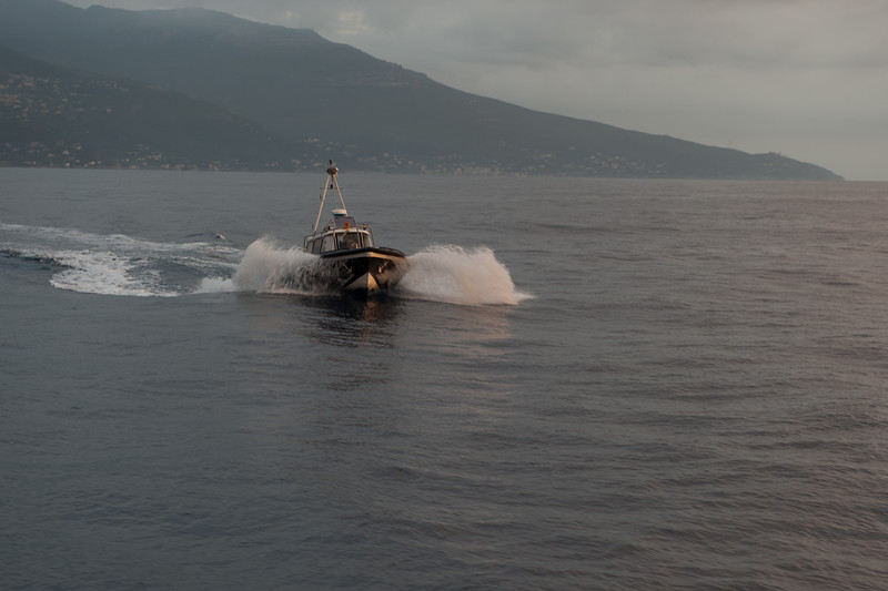 Pilot boat greeting us as we approach Bastia, Corsica, France