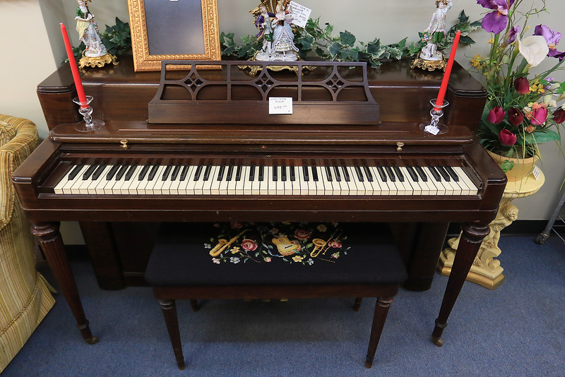 A ribbon cutting for Italian Treasures in Leominster was held on March 8, 2019. This Wurlitzer piano is for sale in the shop. SENTINEL & ENTERPISE/JOHN LOVE