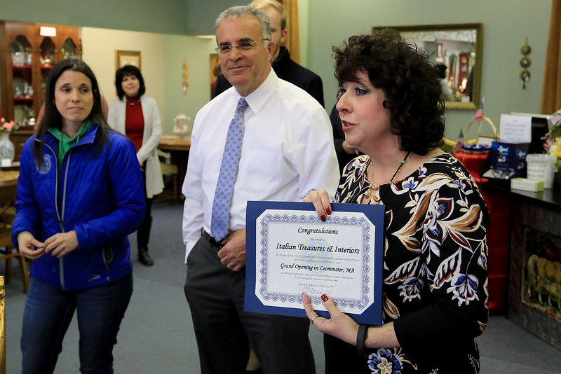 A ribbon cutting for Italian Treasures in Leominster was held on March 8, 2019. Owner Rosemarie Dowey talks about her new shop while holding the citation she got from Leominster Mayor Dean Mazzarella just after she cut the ribbon. On left is the city's Small Business Coordinator Melissa Tasca. SENTINEL & ENTERPISE/JOHN LOVE