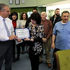A ribbon cutting for Italian Treasures in Leominster was held on March 8, 2019. Owner Rosemarie Dowey gets a citation from Leominster Mayor Dean Mazzarella just after she cut the ribbon. SENTINEL & ENTERPISE/JOHN LOVE