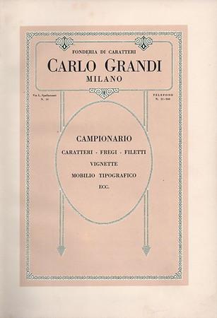 Catalogue of the Carlo Grandi Foundry in Milan. 1930s.