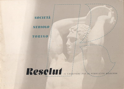 Advertising brochure of Resolut, designed by H. Brünnel for Nebiolo in 1937.
