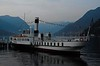 Patria, Lake Como, 10 June 2015.  Built in 1926 at Genoa by N Odero as a coal-fired steamer named Savoia.  Renamed Patria in 1943, converted to burn oil in 1953.  Withdrawn in 1990.  Sailed for the first time in preservation in 2013.
