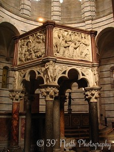 Marble pulpit inside the Baptistry of St. John, carved by Nicolo Pisano in 1260. Nicolo is the father of the dude who carved the pulpit in the Duomo.