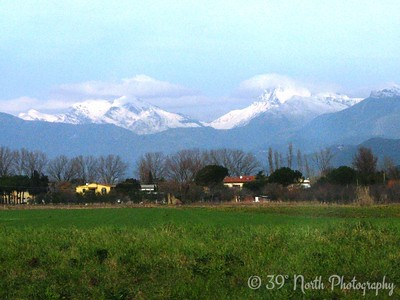 Who knew that there are such BIG and BEAUTIFUL mountains so close to Pisa?? (I was able to get this shot because we missed the bus stop for the Piazza dei Miracoli and ended up on a roundabout tour of the fringes of Pisa).