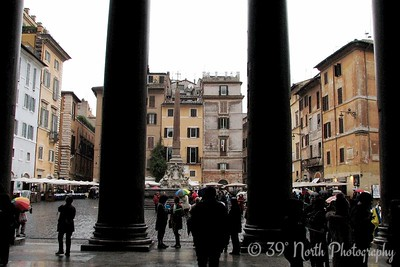 Looking out to the Piazza della Rotonda from inside the Pantheon