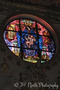 Stained glass window in the Basilica di Santa Maria Maggiore
