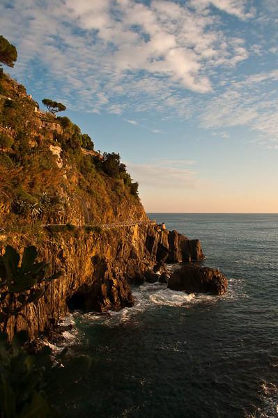 View of Mediterranean Coastline from Riomaggiore, Italy (Cinque Terra)