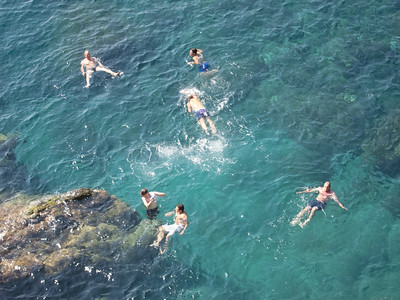 Swimmers in the Ligurian Sea