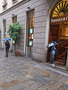 Rain outside Tiffany's, Milan