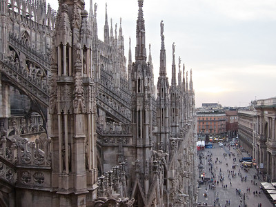 Climbing to the top of the Duomo, Milan