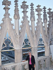 Kathie at the top of the Duomo, Milan