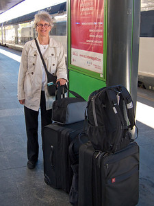 Kathie at train station, Milan