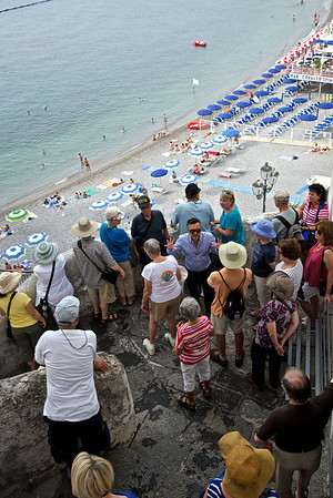 Tour group overlooking the beach, Amalfi