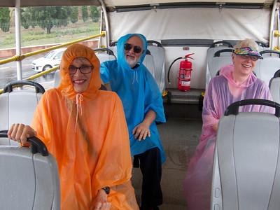 Local tour bus after a downpour, Rome